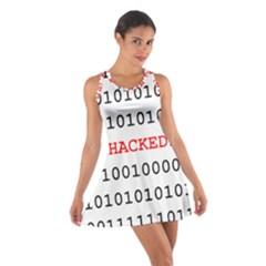 Binary Black Cyber Data Digits Cotton Racerback Dress