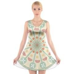 Blue Circle Ornaments V Neck Sleeveless Skater Dress