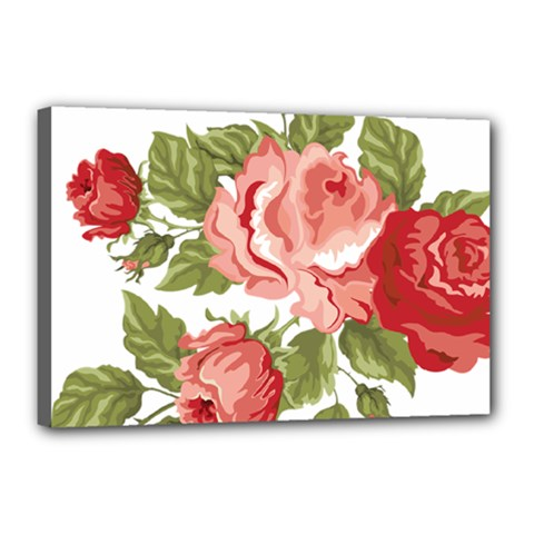 Flower Rose Pink Red Romantic Canvas 18  X 12  by Nexatart