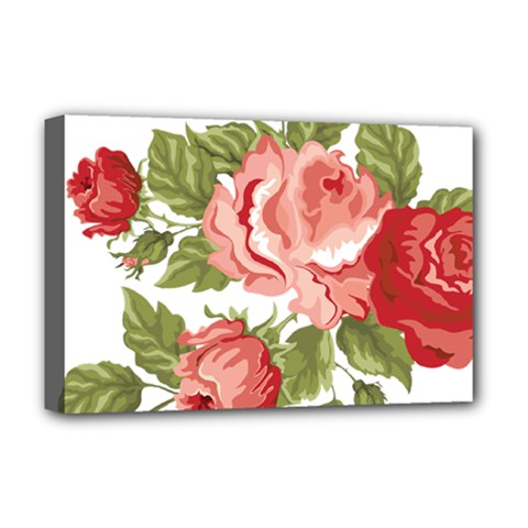 Flower Rose Pink Red Romantic Deluxe Canvas 18  X 12