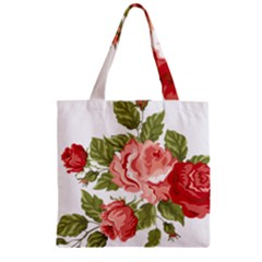 Flower Rose Pink Red Romantic Zipper Grocery Tote Bag