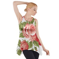 Flower Rose Pink Red Romantic Side Drop Tank Tunic