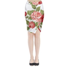 Flower Rose Pink Red Romantic Midi Wrap Pencil Skirt