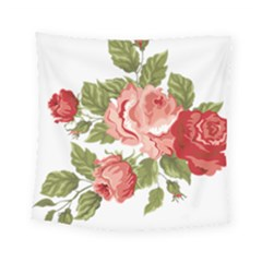 Flower Rose Pink Red Romantic Square Tapestry (small) by Nexatart