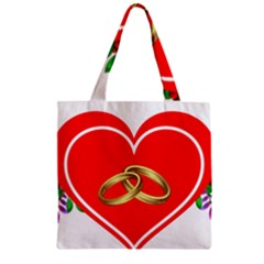 Heart Flowers Ring Zipper Grocery Tote Bag by Nexatart