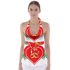 Heart Flowers Ring Babydoll Tankini Top