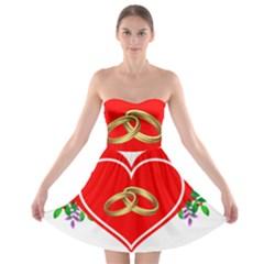 Heart Flowers Ring Strapless Bra Top Dress
