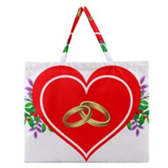 Heart Flowers Ring Zipper Large Tote Bag