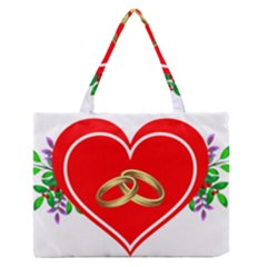 Heart Flowers Ring Medium Zipper Tote Bag