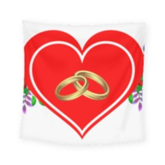 Heart Flowers Ring Square Tapestry (small) by Nexatart