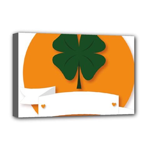 St Patricks Day Ireland Clover Deluxe Canvas 18  X 12