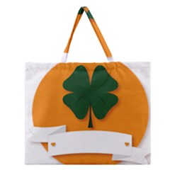 St Patricks Day Ireland Clover Zipper Large Tote Bag by Nexatart
