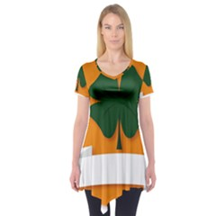 St Patricks Day Ireland Clover Short Sleeve Tunic