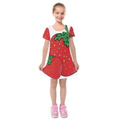 Strawberry Holidays Fragaria Vesca Kids  Short Sleeve Velvet Dress