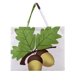 Acorn Hazelnuts Nature Forest Zipper Large Tote Bag by Nexatart