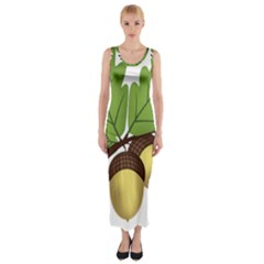 Acorn Hazelnuts Nature Forest Fitted Maxi Dress