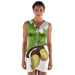 Acorn Hazelnuts Nature Forest Wrap Front Bodycon Dress