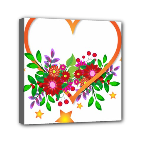 Heart Flowers Sign Mini Canvas 6  X 6  by Nexatart