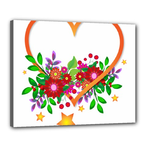 Heart Flowers Sign Canvas 20  X 16  by Nexatart