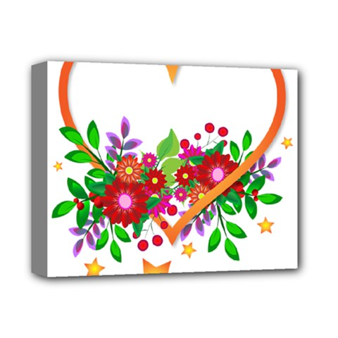 Heart Flowers Sign Deluxe Canvas 14  X 11  by Nexatart