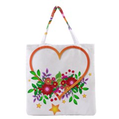 Heart Flowers Sign Grocery Tote Bag by Nexatart