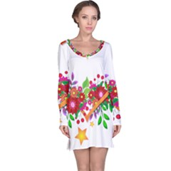 Heart Flowers Sign Long Sleeve Nightdress