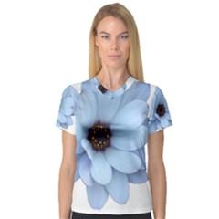 Daisy Flower Floral Plant Summer Women s V Neck Sport Mesh Tee