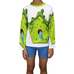 Bluebird Bird Birdhouse Avian Kids  Long Sleeve Swimwear