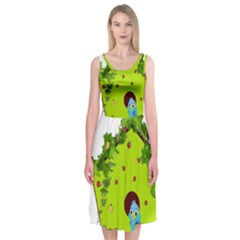 Bluebird Bird Birdhouse Avian Midi Sleeveless Dress