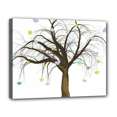 Tree Fantasy Magic Hearts Flowers Canvas 14  X 11