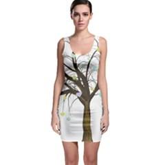 Tree Fantasy Magic Hearts Flowers Sleeveless Bodycon Dress