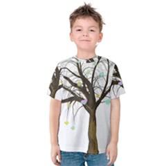 Tree Fantasy Magic Hearts Flowers Kids  Cotton Tee