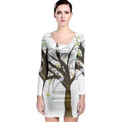 Tree Fantasy Magic Hearts Flowers Long Sleeve Bodycon Dress