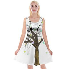 Tree Fantasy Magic Hearts Flowers Reversible Velvet Sleeveless Dress