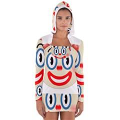 Clown Funny Make Up Whatsapp Women s Long Sleeve Hooded T Shirt