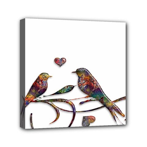 Birds Abstract Exotic Colorful Mini Canvas 6  X 6  by Nexatart