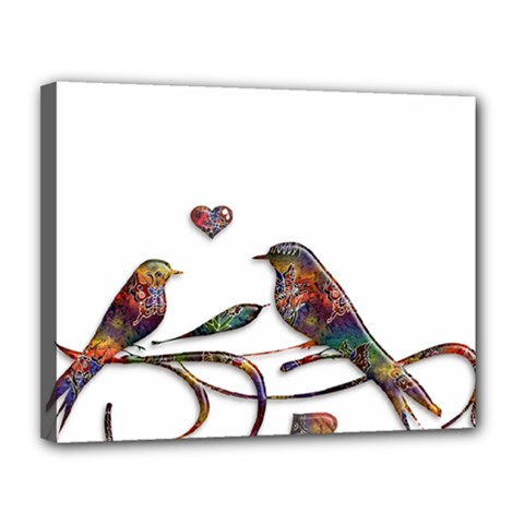 Birds Abstract Exotic Colorful Canvas 14  X 11  by Nexatart