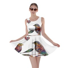 Birds Abstract Exotic Colorful Skater Dress