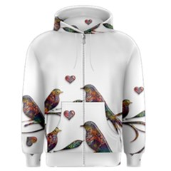 Birds Abstract Exotic Colorful Men s Zipper Hoodie