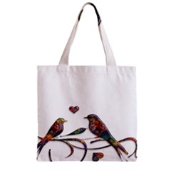 Birds Abstract Exotic Colorful Zipper Grocery Tote Bag