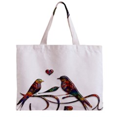 Birds Abstract Exotic Colorful Zipper Mini Tote Bag