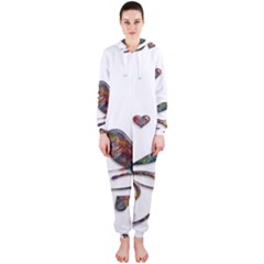 Birds Abstract Exotic Colorful Hooded Jumpsuit (ladies)