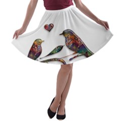 Birds Abstract Exotic Colorful A-line Skater Skirt by Nexatart