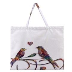 Birds Abstract Exotic Colorful Zipper Large Tote Bag by Nexatart