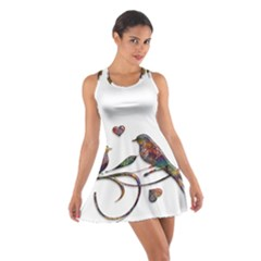 Birds Abstract Exotic Colorful Cotton Racerback Dress by Nexatart