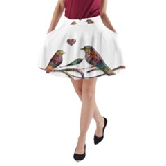 Birds Abstract Exotic Colorful A-Line Pocket Skirt by Nexatart