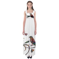 Birds Abstract Exotic Colorful Empire Waist Maxi Dress