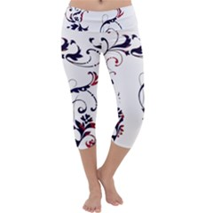 Scroll Border Swirls Abstract Capri Yoga Leggings by Nexatart