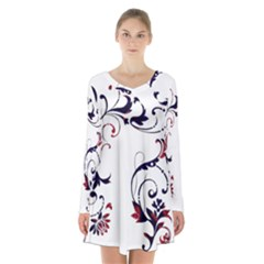 Scroll Border Swirls Abstract Long Sleeve Velvet V Neck Dress