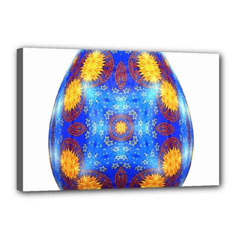Easter Eggs Egg Blue Yellow Canvas 18  X 12  by Nexatart